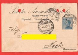 Società Anonima Cereali TREVISO Cartolina Commerciale 1921 Per Noale Venezia - Negozi