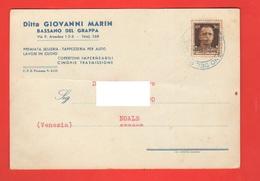 Bassano Selleria Tappezzeria Per Auto MARIN Cartolina Commerciale 1943 Per Noale Venezia - Negozi