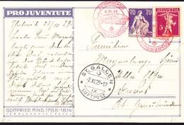 1916/1929 Juventute Karte Mit Zeppelin Schweizer Flug Gelaufen 75 Rp Frankatur St. Gallen Ins Graubünden. - Covers & Documents