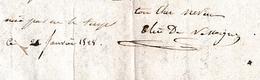 1828 L.A.S. Elie De VASSOIGNE (Martinique 1811-Paris 1891) Général - Il Entre à SAINT-CYR Comme étudiant à 17 Ans - Historische Documenten