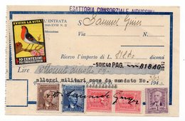 1940 ITALY,ENTRANCE PERMIT RECEIPT, BIRD,ADDITIONAL STAMP IN AID OF TUBERCULOSIS POVERTY - 1945-1992 République Fédérative Populaire De Yougoslavie