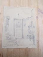 Gent 1945 Originele Tekening Gevangenis Nieuwe Wandeling 16 20 Cm - Otras Colecciones