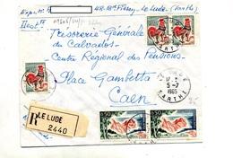 Lettre Recommandée Le Lude Sur Coq Azur - Marcophilie (Lettres)