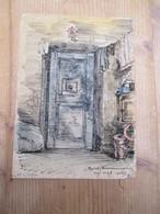 Gent 1945 Gevangenis Nieuwe Wandeling Originele Tekening Cel 143 A 11 Op 16 Cm - Otras Colecciones