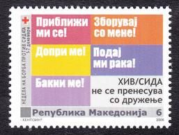 Macedonia 2006 AIDS SIDA Red Cross Croix Rouge Rotes Kreuz Tax Charity Surcharge, MNH - Macedonië