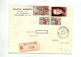 Lettre Recommandée Coutances Sur Coq Mandel Bourges - Marcophilie (Lettres)