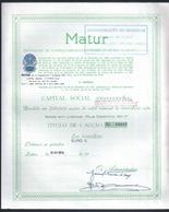 Rara Acção Da Matur Em Euros. Titulo 1 Ação Soc. Empreendimentos Turísticos Da Madeira. Machico. Madeira Tourism. - Tourisme