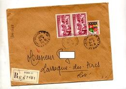 Lettre Recommandée Paris 47 Sur Deauville + Rural Laroque - Marcophilie (Lettres)