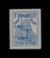 ***REPLICA*** Of 1936 Kermadecs Sunday Island , 3d Blue, New Zealand Local - Unused Stamps