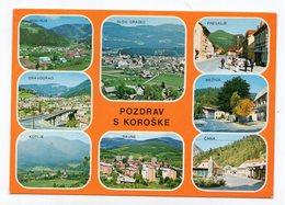 1977 YUGOSLAVIA,SLOVENIA,RAVNE NA KOROSKEM TO BELGRADE,MULTICITY ILLUSTRATED POSTCARD,USED - Joegoslavië