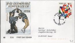 JO94-H/L3 - NORVEGE FDC Jeux Olympiques LILLEHAMMER 1994 Patinage Artistique - FDC