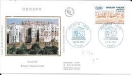 FRANCE FDC N° SERVICE 183 UNESCO - 1990-1999