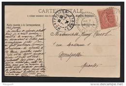 "Cachet Perlé Facteur Boitier ""Soubès Herault 1904"" Semeuse Indice=4 Cp Lodeve 2 Scans - Postmark Collection (Covers)"