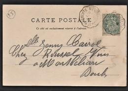 "Rare Cachet Convoyeur ""Montbeliard A St Hippolyte 1904"" Indice=6 Cp Pont De Roide - Postmark Collection (Covers)"