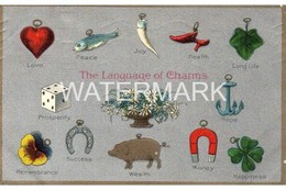 THE LANGUAGE OF CHARMS OLD COLOUR EMBOSSED POSTCARD - Postkaarten