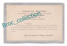 Faire-part De Décès Fernand Boudet, Mort Pour La France Combat De Lironville, 21/09/1914, époux Lepage, Paris, 368e R.I. - 1914-18