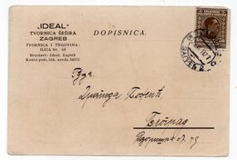 1927. YUGOSLAVIA, CROATIA, ZAGREB TO BELGRADE, IDEAL, HAT MAKER, CORRESPONDENCE CARD, - 1931-1941 Kingdom Of Yugoslavia