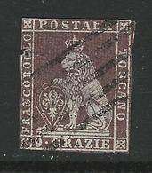 1851 / 52 TOSCANA - Marzocco (Leone Mediceo) - N. 8 Usato - Cat. 450 € - 9 Crazie Difettoso - Antichi Stati - Lotto 462 - Toscane