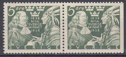 +Sweden 1938. DELAWARE. Pair. Michel 245 B/Dr. MNH(**) - Sweden