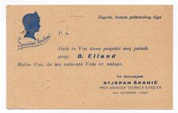 1940 YUGOSLAVIA,CROATIA,ZAGREB TO NOVI VRBAS,STJEPAN SPANIC,FIRST CROATIAN SWEETS FACTORY,CORRESPONDENCE CARD,USED - 1931-1941 Kingdom Of Yugoslavia