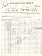 13 . BOUCHE DU RHONE . FACTURE / LETTRE . MARSEILLE . HUILERIE DU PRADO . 1910 - 1900 – 1949