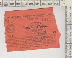 Biglietto Ticket Societa' Partenopea Di Navigazione - Capri  1959 - Railway