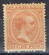 Sello 80 Cts PUERTO RICO, Colonia Española 1891, Num 100 ** - Puerto Rico