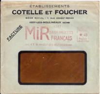 """92 . HAUTS DE SEINE - ISSY LES MOULINEAUX  - TAD DE TYPE ENTETE + EMA """"MIR Savon""""  1935 - Postmark Collection (Covers)"""