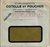 """92 . HAUTS DE SEINE - ISSY LES MOULINEAUX  - TAD DE TYPE ENTETE + EMA """"LESSIVE LA CROIX""""  1935 - Postmark Collection (Covers)"""