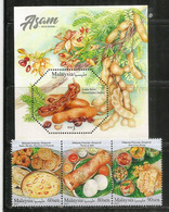 La Gastronomie Malaisienne , Série + Bloc-feuillet Neufs **  (Nasi Daun Pisang,Thosai & Idhli,Vadai,Muruku,etc) - Alimentación