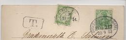 """TAMPON """" STRASSBURG ( ELS ) - BASEL. BAHNPOST - ZUG 217. 20/09/1903. CARTE DOS NON DIVISE MULHOUSE LES HALLES - Germany"""
