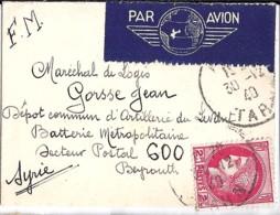 TYPE CERES N°373 + FM SUR LETTRE DE VOEUX D'ALBI/30.12.40 POUR BEYROUTH/SP 600 - Francia
