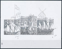 Mi 2528-30 Proof Épreuve Blackprint Schwarzdruck, Joint Issue Finland / Sea Fortress, UNESCO World Heritage, Windmill - Proofs & Reprints