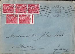 TYPE MERCURE N°547x5 SUR LETTRE DE ALES/1943.44 - 1938-42 Mercure