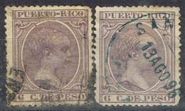 Dos Sellos 6 Cts PUERTO RICO, Colonia Española 1896, Variedad Color, Num 125-125a º - Puerto Rico