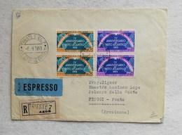 Busta Di Lettera Raccomandata Espresso Da Trieste Per Fiuggi-Fonte 1953 - 7. Triest