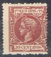 Sello 20 Cts PUERTO RICO, Colonia Española 1898, Variedad Color, Num 144 ** - Puerto Rico