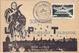 TP N° 1196 SUR CARTE POSTALE DE TOULOUSE/JOURNEE DU TIMBRE/21.3.59 - Poststempel (Briefe)