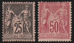 France N°97 + 98, Neufs * Avec Gomme COTE 405 €, Sage 25c Noir + 50c Rose - 1876-1898 Sage (Type II)