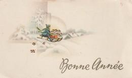 942 - MIGNONETTE BONNE ANNEE .MAISONS ENFANT LUGE TREFLES 4 FEUILLES PAYSAGE ENNEIGE - Anno Nuovo