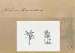 Mi Block 24 Proof Épreuve Blackprint Schwarzdruck / Linné 300th Birthday, Georg Ehret, Botany, Banana, Podophyllum - Proofs & Reprints