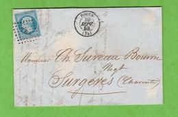 LETTRE DE ROUEN N° 2738 AU DOS AMBULANTS LE HAVRE A PARIS A ET PARIS A BORDEAUX 2° B POUR SURGERES CHARENTE - Postmark Collection (Covers)
