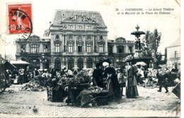 N°9127 -cpa Cherbourg -marché De La Place Du Château- - Markets