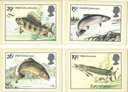 Grande - Bretagne: Cartes Postales De La Série 1067/ 1070 ** (Poissons De Rivières) - 1952-.... (Elizabeth II)