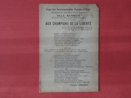 Foyers Des Permissionnaires - 14 Décembre 1918 - Villa Nathalie - Toulon - Aux Champions De La Liberté François Armagnin - Guerre 1914-18