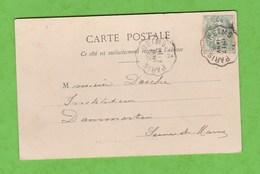 CONVOYEUR REIMS A PARIS SUR CARTE POSTALE  DE PARIS BOIS DE BOULOGNE - Postmark Collection (Covers)