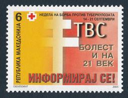 Macedonia 2005 TBC Cross Croix Rouge Rotes Kreuz Tax Charity Surcharge, MNH - Macedonië
