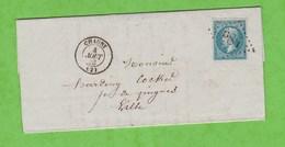 LETTRE DE CHAUNY N° 984 AU DOS AMBULANT PARIS A CALAIS 1° H POUR LILLE NORD - Postmark Collection (Covers)