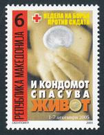 Macedonia 2005 AIDS SIDA Cross Croix Rouge Rotes Kreuz Tax Charity Surcharge, MNH - Macedonië