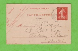 AMBULANT LA ROCHELLE A LA ROCHE/YON SUR  CARTE LETTRE 135 10c DATE 707 - Postmark Collection (Covers)